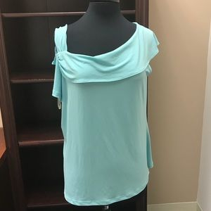 Sea foam Green cold shoulder shirt.